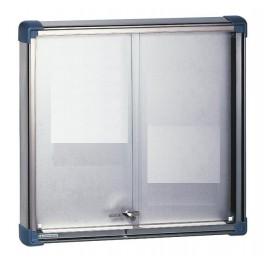 Vitrine d'affichage fond tôle aluzinc avec portes coulissantes pour intérieur