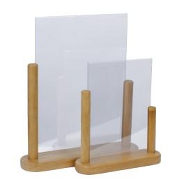 Porte-menu de table cadre bois coloris teck avec support transparent