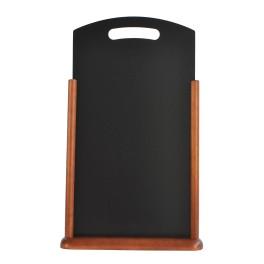 Porte-menu de table cadre bois coloris wenge avec ardoise arrondie munie d'une poignée