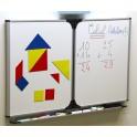 Tableau triptyque enfant 60 x 100 cm blanc - encadrement gris