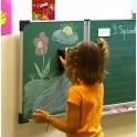 Tableau triptyque enfant 60 x 100 cm vert - encadrement gris