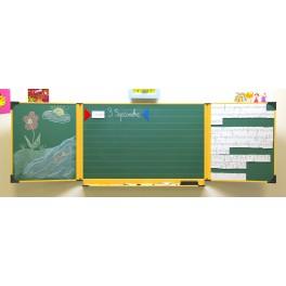 Triptyque enfant 60 x 100 cm Blanc et vert encadrement jaune