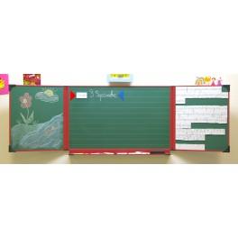 Triptyque enfant 60 x 100 cm Blanc et vert encadrement rouge
